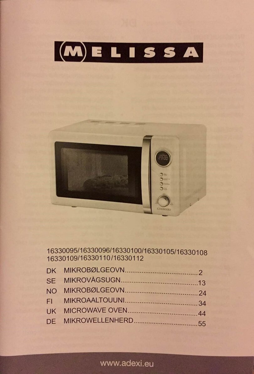 Bedienungsanleitung der Mikrowelle Adexi Melissa 16330112