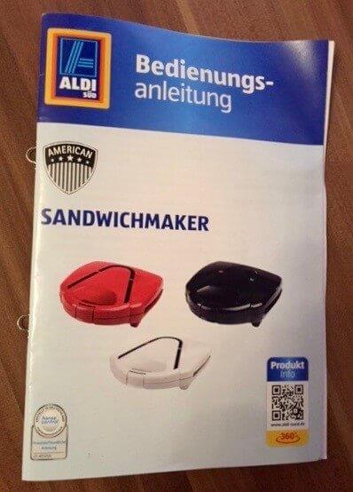 Bedienungsanleitung des Sandwichmakers